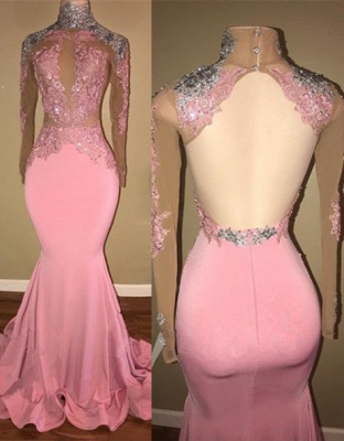Gorgeous High-Neck Backless Pink 2020 Prom Dress Mermaid With Lace Appliques BA7926_1