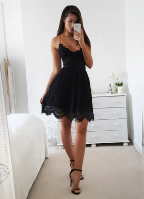 Sexy Black Spaghetti Straps 2020 Homecoming Dress On Sale With Lace_1