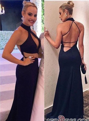 Sweep-Train Sleeveless Backless Sexy Halter Black Sheath-Column Evening Dress_1