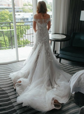 Newest White Lace Off-the-shoulder Wedding Dress | Mermaid Bridal Gown_3