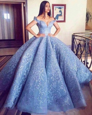 Glamorous Off-the-Shoulder Ball Gown Evening Prom Dress With Lace Appliques BA8309_3