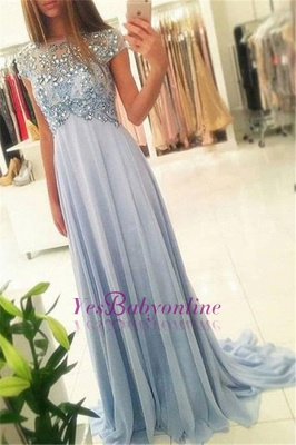 Long Crystals Blue Beading Empire Sparkly Elegant Chiffon Cap-Sleeve 2020 Prom Dresses_2