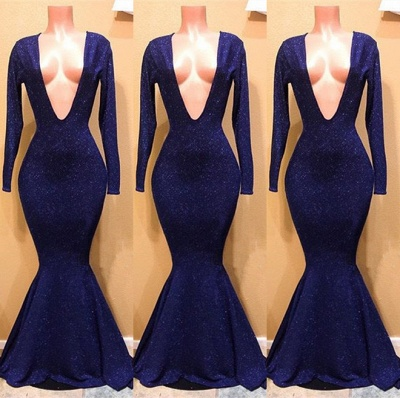 Sexy V-Neck Long Sleeve Prom Dresses | 2020 Mermaid Sequins Long Evening Gowns BC0885_2