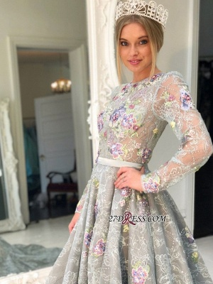 Long Sleeve Lace Evening Gowns | 2020 Princess Prom Dress_1