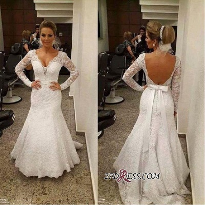 V-neck Mermaid Backless Long-sleeves Lace Sashes Sexy Wedding Dress_1