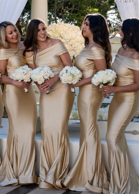 Charming Off-the-Shoulder 2020 Bridesmaid Gowns | Mermaid Long Maid of Hornor Dress On Sale_1