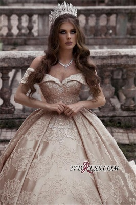 Elegant Off-The-Shoulder Sleeveless Bridal Gown | Strapless Ball-Gown Long Wedding Dress_3