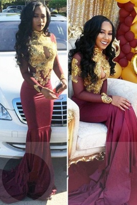 Burgundy long sleeve lace prom dress, mermaid 2020 evening gowns BA4987_1