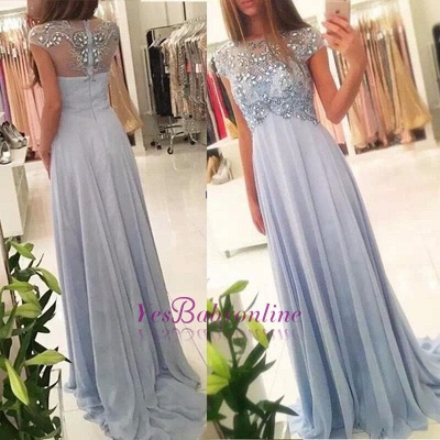 Long Crystals Blue Beading Empire Sparkly Elegant Chiffon Cap-Sleeve 2020 Prom Dresses_1