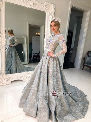 Long Sleeve Lace Evening Gowns | 2020 Princess Prom Dress_2