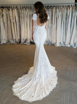 2020 White V-Neck Lace Appliques Mermaid Bridal Gown | Backless Cap Sleeves Long Wedding Dress_2