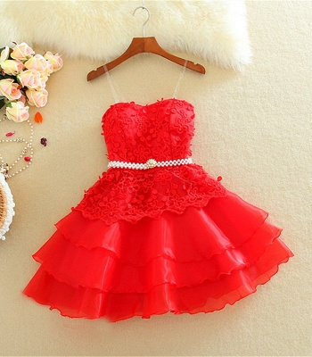 Lovely Sweetheart Mini Homecoming Dress Lace Appliques Layered_3