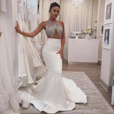 Delicate Beads White Mermaid Wedding Dress | Sleeveless Bridal Gown_2