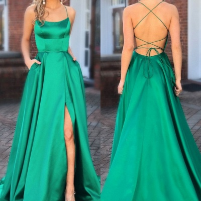 Elegant Green Spaghetti-Straps Evening Dresses | 2020 Long Prom Gown With Slit_3