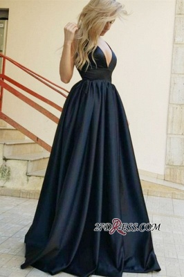 Gorgeous Black Ruffles A-Line Prom Dresses | V-Neck Sleeveless Long Evening Gowns_3
