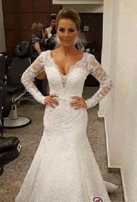 V-neck Mermaid Backless Long-sleeves Lace Sashes Sexy Wedding Dress_2