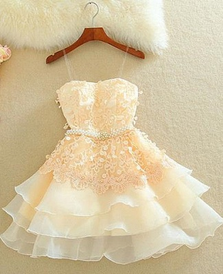 Lovely Sweetheart Mini Homecoming Dress Lace Appliques Layered_1