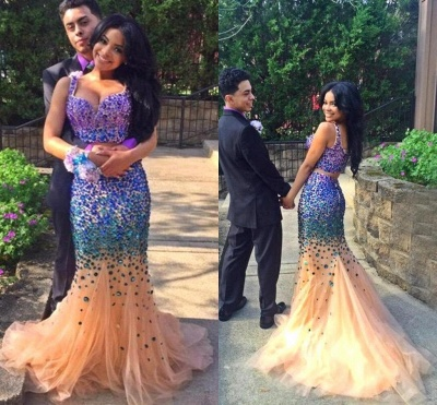 Luxurious Two Pieces Prom Dresses 2020 Mermaid Tulle With Crystals_3