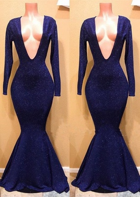 Sexy V-Neck Long Sleeve Prom Dresses | 2020 Mermaid Sequins Long Evening Gowns BC0885_1