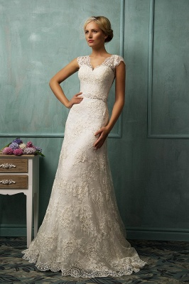Elegant Cap Sleeve Lace Tulle Wedding Dress Zipper With Beadings_1