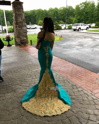 off-the-shoulder Sexy Mermaid Sweep-length Appliques Evening Dresses_3
