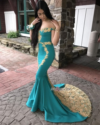 off-the-shoulder Sexy Mermaid Sweep-length Appliques Evening Dresses_2