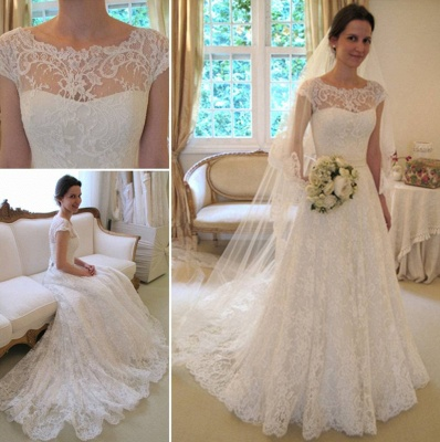New Arrival Lace A-line Princess Wedding Dresses 2020 with Cap Sleeves_3
