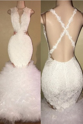 White mermaid lace prom dress, ruffles evening gowns BA8448_1