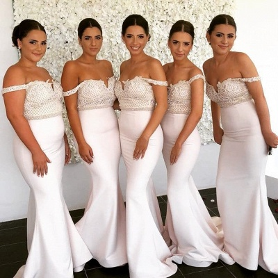 Newest Lace Off-the-shoulder Mermaid Bridesmaid Dress | 2020 Cheap Ivory Bridesmaid Dress_2