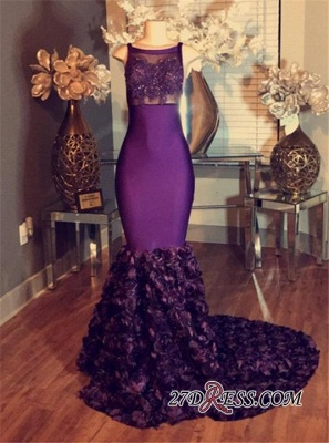 Prom Purple dresses Sleeveless Lace-Applique Mermaid Long with Flower-Train_1