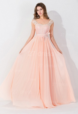 Modern Off-the-shoulder Chiffon Bowknot Evening Dress Appliques Floor-length_4