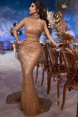 Gorgeous High-Neck One-Shoulder Mermaid Evening Gown | Long-Sleeves Sequins Prom Dress BC1686_2