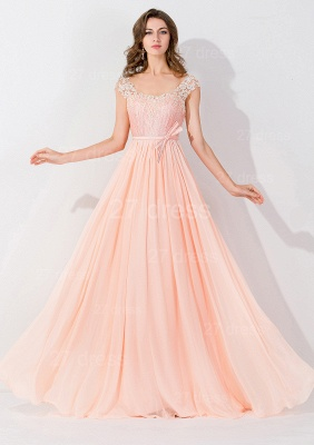 Modern Off-the-shoulder Chiffon Bowknot Evening Dress Appliques Floor-length_1