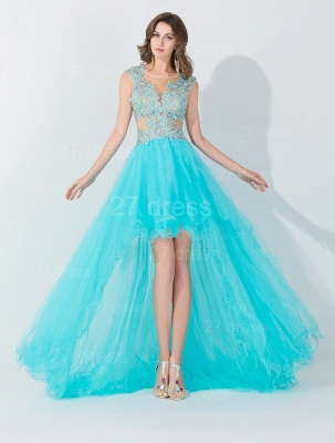 Newest Lace Appliques Hi-Lo Evening Dress Sweep Train_1