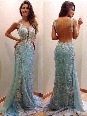 Delicate Lace Appliques A-line Evening Dress 2020 Mermaid Open Back Straps_4