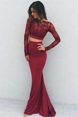 Modern Long Sleeve Two Piece Prom Dress 2020 Lace Sweep Train BA4306_2