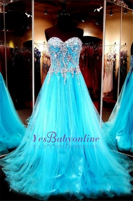 Sweetheart Blue Crystals Tulle Long Luxurious Beaded A-line Evening Dresses_2