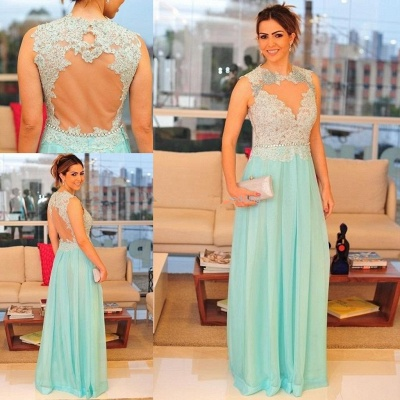 Newest Lace Appliques A-line 2020 Prom Dress Chiffon Floor-length_3