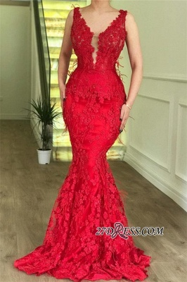 Sexy Sleeveless Mermaid Party Dresses | Red V-Neck Lace Appliques Cheap Prom Dresses BC2304_1