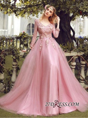 Long Sleeve Pink Evening Tulle | 2020 Prom Dress With Lace Appliques_5