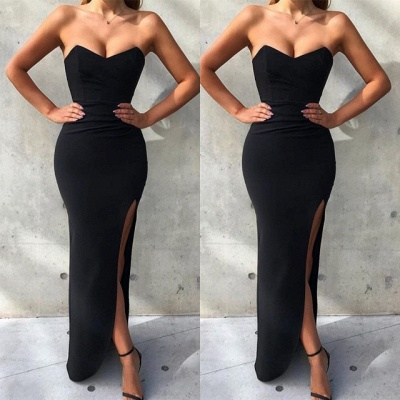 Gorgeous Sweetheart Sleeveless Prom Dress on Sale | Mermaid Black Evening Gowns With Split BC1494_3