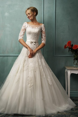 Modern Half-sleeve Tulle Lace Appliques Princess Wedding Dress With Bowknot_1