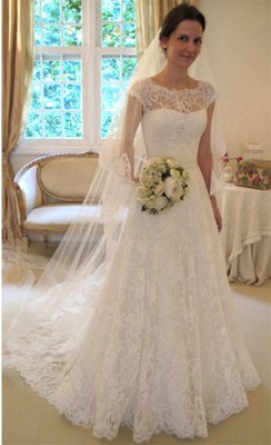New Arrival Lace A-line Princess Wedding Dresses 2020 with Cap Sleeves_4