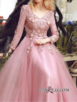 Long Sleeve Pink Evening Tulle | 2020 Prom Dress With Lace Appliques_2