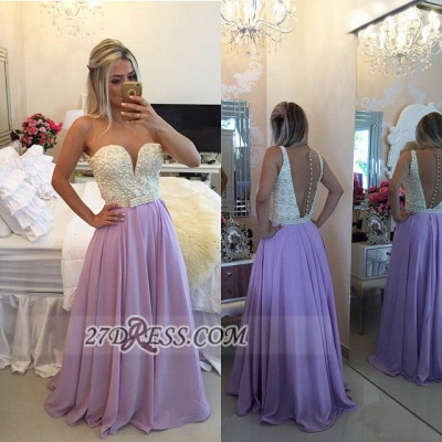 Glamorous Sweetheart Pearls Beadings Prom Dress A-Line Chiffon Long Evening Party Gowns BT0_3