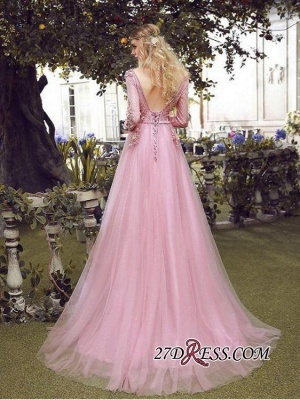 Long Sleeve Pink Evening Tulle | 2020 Prom Dress With Lace Appliques_4