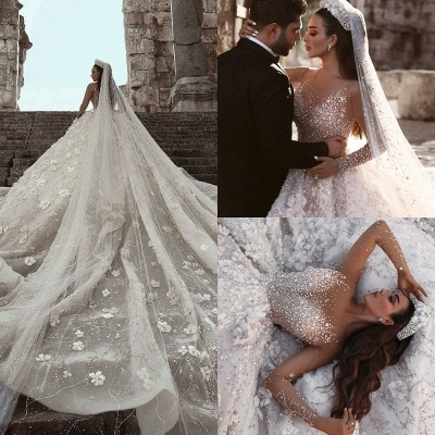 Luxurious Long Sleeve 2020 Wedding Dresses | Ball Gown Flowers Crystal Bridal Gowns_4