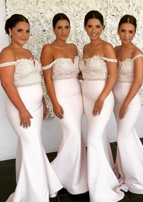 Newest Lace Off-the-shoulder Mermaid Bridesmaid Dress | 2020 Cheap Ivory Bridesmaid Dress_1