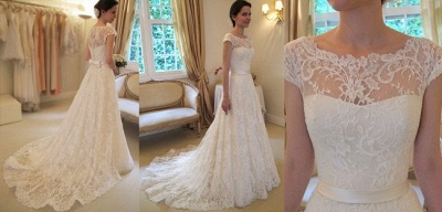New Arrival Lace A-line Princess Wedding Dresses 2020 with Cap Sleeves_2