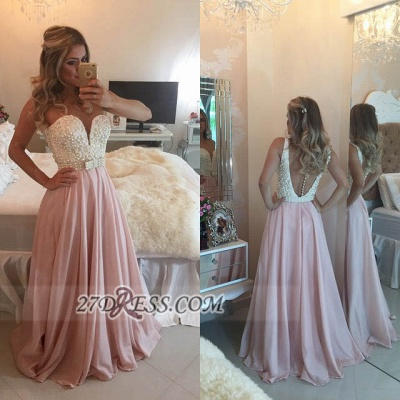 Glamorous Sweetheart Pearls Beadings Prom Dress A-Line Chiffon Long Evening Party Gowns BT0_2
